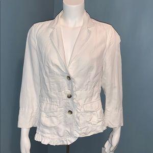 Anthropologie Hei Hei White cotton ruffle blazer